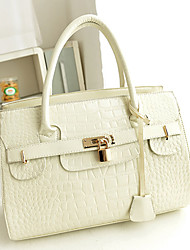 Letao Women's Solid Color Alligator Pattern Beige Tote