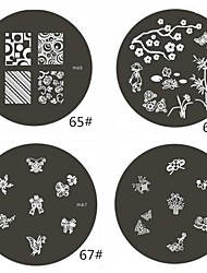 1 Piece M Series Rounded Flower Design Nail Art Stamp Stamping Image Template Plate NO.68-68(Assorted Pattern)