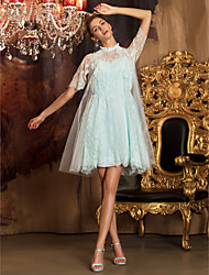Homecoming Knee-length Tulle/Lace Bridesmaid Dress - Jade A-line High Neck