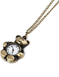 Unisex Little Bear Pattern Legierung Analog Quarz Halskette Uhr