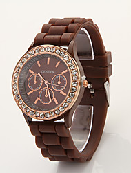 Cdong Korean Diamond Sports Silicone Watch (Brown)