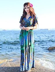 YIFEEL A Frauen Böhmen kurzen Ärmeln Meer Blumen Kleid (Dark Blue)