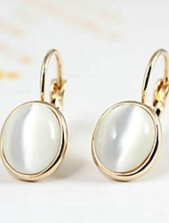 18K White/Rose Gold Plated Opal Stone Dangle Earrings