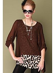 Women's Leopard Black/Brown Shirt , Round Neck