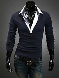camisas de manga larga v cuello de los hombres