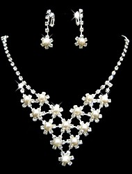 Wedding/Bridal Rhinestone Pearl Crystal Necklace Earring Set