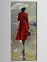 personas pintura al óleo chica moderna en capa roja con lienzo pintado a mano marco de estirado