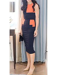 L'Europe Noble contraste MILU femmes Couleur Slim Fit robe à manches (Orange)