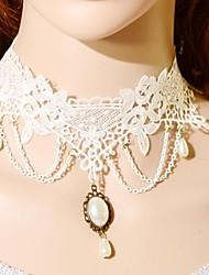 Elonbo pure collier dentelle Style Blanc vieilli Gothic Lolita collier pendant de foulard bijoux