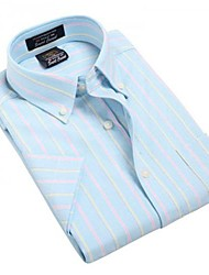 U-Shark  Men's Summer Formal Business Short Sleeves Wash-and-Wear Oxford Fabric LT Blue Striped Shirts  Blouse Top EOZY