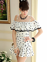DABUWAWA Strapless Dots Pattern Shirt-13
