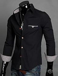 Lesen мужская рубашка шеи этнической печати моды с длинным рукавом о