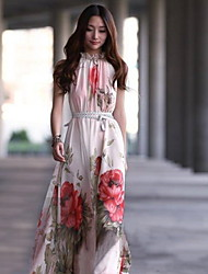 Women's Stand Sleeveless Floral Print Maxi Dress with Belt