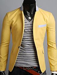 Homens OTS coreano Casual Um Buckle Blazer (Amarelo)