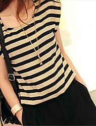 Mulheres Moda de Nova Relaxe Stripe Chiffon Curto Macacão