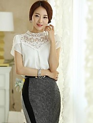 Women's White Blouse, Stand Collar Short Petal Sleeve Lace Crochet