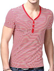 Summer Casual V-Cou T-shirts U-requin homme blanc rouge rayé Accompagnement shirt EOZY