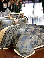 100% Cotton & Silk Blue Rome Style Jacquard Duvet Cover Set 4 Pcs Full Queen Size
