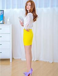Women's Black/Blue/Brown/Gray/Green/Orange/Pink/Purple/Red/White/Yellow Skirts , Sexy/Bodycon Mini