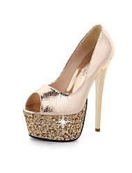 Calçados Femininos - Saltos - Saltos / Peep Toe - Salto Agulha - Prateado / Dourado - Courino - Social