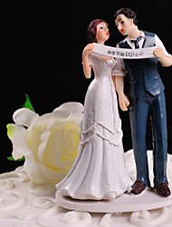 Cake Topper Non-personalized Classic Couple Resin Wedding White / Blue Floral Theme / Classic Theme Gift Box