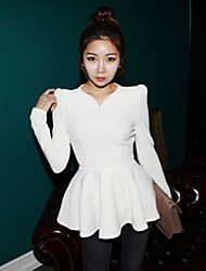 Women's V-Neck Puff Sleeve Peplum Blouse