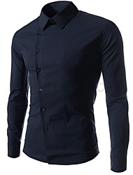 Fxfs Мужская корейский стиль Наклонный Пряжка футболка с длинным рукавом
