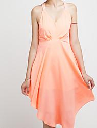V cuello halter perlas vestido largo atractivo de la mujer Mblu (Naranja)