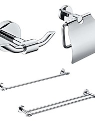 4 Packed Brass Bath Accessories Set,  Single and  Double Towel Bar/Paper Holder/Robe Hook