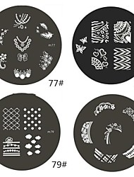 1 Parte M Series arredondado Abstract Design Nail Art Stamp Estamparia Imagem da Placa No.77-80 (Padrão sortidas)