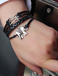 Shixin® European Elephant 18cm Women's Black Leather Wrap Bracelet(1 Pc) Christmas Gifts