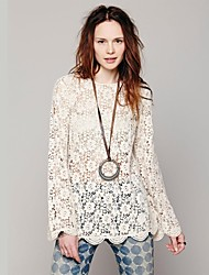 Women's Lace White Dress , Lace/Casual Bateau Long Sleeve Lace