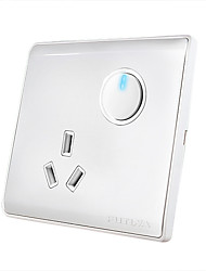 One Button Single Control Switch Socket Panel with LED Indicator Light Switch