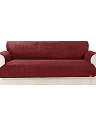 Waterproof Microsuede Burgundy Solid Mini Cube Quilting Sofa Cover