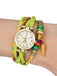 Women's Watch Bohemian Gold Leaf Style Colorful Leather Band Cool Watches Unique Watches