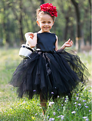 Ball Gown Tea-length Flower Girl Dress - Satin / Tulle Sleeveless Bateau with Flower(s)