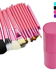 New Professional 12PCS Cosmetic Makeup Brush Set Make-up Tool With Leather Cup Holder