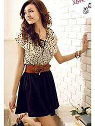 Women's Fashion Short-sleeve Dots Polka Waist Dress(with belt)