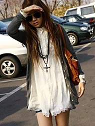 Women's Solid/Lace White Long Sleeve Lace