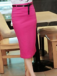 Kvinnors Candy Color Pencil Midi Skirt med Blet 5 Färg