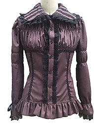 Shirring Bust Long Sleeve Dark Red Gothic Lolita Blouse