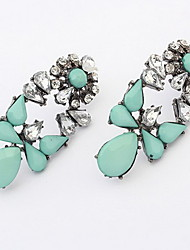 Kushang Retro Flower Gemstone Ear Studs (Lake Blue)
