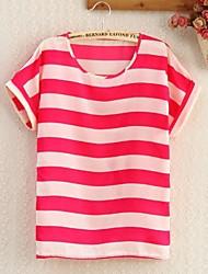 Frauen-Punkt Kragen Rose Stripe Floral Print-Shirt
