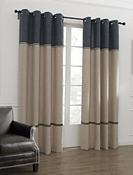 Neoclassical Two Panels Stripe  Living Room Linen Panel Curtains Drapes