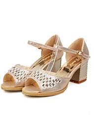 Frauen Chunky Heel Sandaletten mit Strass PeepToe Schuhe (weitere Farben)