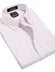 U-Shark  Men's Summer Formal Business Short Sleeves Wash-and-Wear Oxford Fabric Lavender  Striped Shirts  Blouse Top EOZY