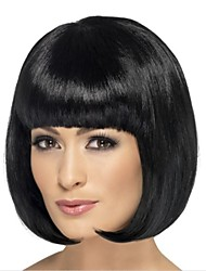 Capless Short Black Wavy High Quality Synthetic Japanese Kanekalon Wigs