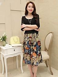 Женские Круглые элегантный цветочный большой ярдов 7 Протокол рукав платья
