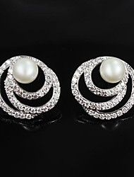 Elegant Brass Silver Plated With Imitation Pearl Women's Stud Earrings