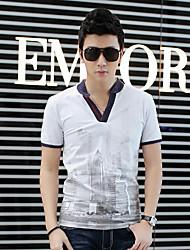 CoolGe Men's V Neck Short Sleeve  T-Shirt(White)